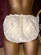 VINTAGE WHITE STRIPED FRILLY RUFFLED SHEER KNICKERS SISSY PANTIES SIZE 20 PLUS