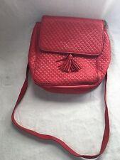 Valerie Stevens Quilted Leather Handbag Red with Tassel