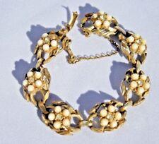 """Vintage Bracelet CORO signed gold-tone 7"""" rhinestone white beads"""