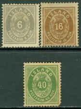 EDW1949SELL : ICELAND 1876 Scott #10, 12, 14 Mint No Gum. Small faults. Cat $515