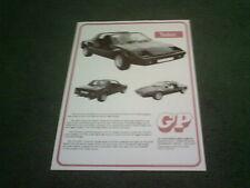 1980 1981 GP Talon-VW Beetle Based Kit Voiture UK dépliant-brochure