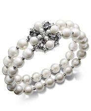 Charter Club  Imitation Pearl, Stone & Crystal Double Row Stretch Bracelet