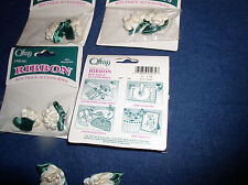 """Ten 1.25"""" Ivory (Cream)  Puff-Looped Ribbon Roses With Leaves by  Offray"""