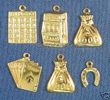 60pc Gold Plated Lucky Gamblers Casino Lot Charms 6025