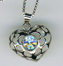 """925 Sterling Silver Cubic Zirconia Heart Pendant on 18"""" Chain"""