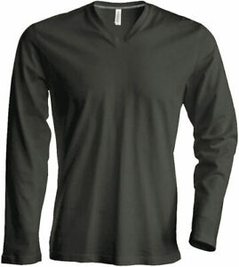 Kariban Herren V-Neck T-Shirt langarm in 20 Farben S - 4XL (K358)