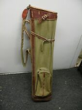 Antique canvas & leather golf bag COLONIAL C.C. of Ft. Worth Texas Bag Room Tag