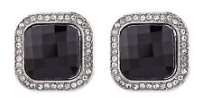 CLIP ON EARRINGS - silver earring with a black stone and crystals - Wendy