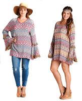 VELEZRA Womens Plus Tassel Boho Pheasant Long Bell Sleeve Bohemain Dress S M L
