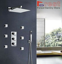 "Bathroom Thermostatic Shower Panel Valve 12"" Shower Head Body Massage Spray Jets"
