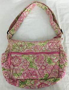 Vera Bradley Pink & Green Purse Handbag with Adjustable Strap 12 Inches