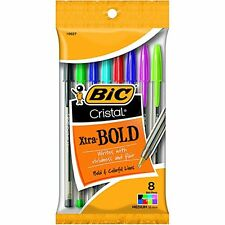 2x BIC CRISTAL XTRA-BOLD PENS - 8 Assorted Colors Ballpoint Pens NIB