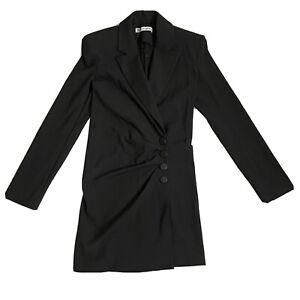 Women's Zara  Long Padded Shoulder 3 Buttons Blazer Black Size XS