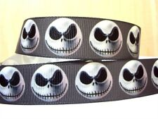 "1 metre HALLOWEEN JACK NIGHTMARE BEFORE CHRISTMAS SKULL SKELETON ribbon 1"" 25mm"