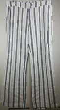 Per se Small White and blue striped Linen Pant Pull On Pockets