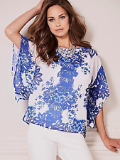 Kaleidoscope Plus Size 20 Blue White Multi Print Tunic TOP Versatile Holiday £55