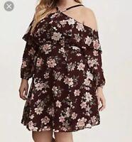 Torrid Size 18 NWT Wine Floral Print Cold Shoulder Ruffle Dress $79 Plus Size
