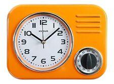 Orologio da parete in metallo da cucina * Stile Retrò * Cucina Meccanico Timer * Arancione