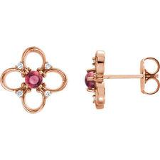 14kt Rose Pink Tourmaline & Diamond Earrings