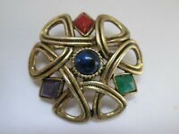 Vintage Sold'Or Gold Tone Celtic Knot Rhinestone Celtic Signed Brooch Pin