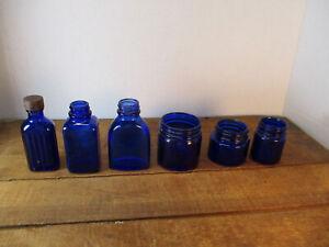 6 Vintage Cobalt Blue Glass Medicine Jars / Bottles Vicks Plus