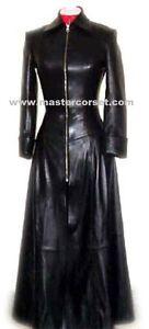 GENUINE LEATHER BLACK LONG COAT FLARED  VERA PELLE cappotto lungo MATRIX COAT