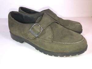 Timberland Sz 6.5W Waterproof Green Nubuck Leather Loafers W Buckle Detail