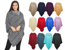WOMEN'S KNITTED ASYMMETRICAL LARGE COLLAR 3 BUTTON PLAIN LOT PONCHO CAPE 8-22