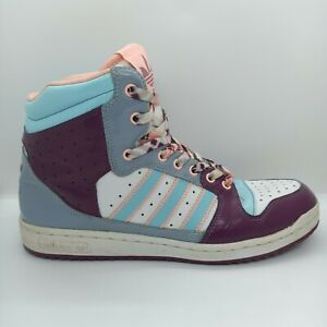 ADIDAS Women's Size 9.5 High Top Sneakers Runners Purple Blue Pink White Green