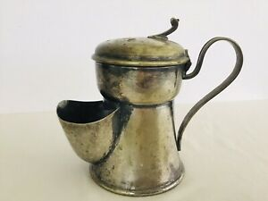 Antique JS & S Shaving Scuttle Mug Cup~Silver plated~Hinged Lid Top~Hallmark