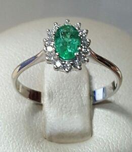 Ring Princess White Gold 18 Carats Diamonds And Emerald Natural