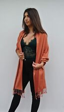70% Cashmere 30% Silk Luxury Hand Woven Shawl, Hand Turned Edges Deep Rose Gold