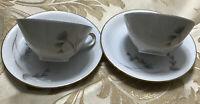 Eschenbach Bavaria Germany Numbered Porcelain Floral Mini Tea Cup & Saucer Two