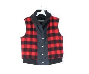 Vintage 60s Woolrich Mens Medium Reversible Buffalo Plaid Wool Vest Jacket USA