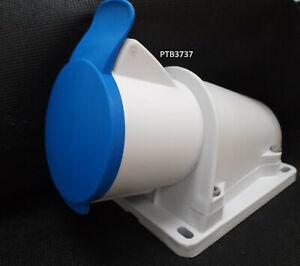 NOTE! 32amp 3 pin angled surface socket 2P+E Weatherproof IP44 200-250V BLUE