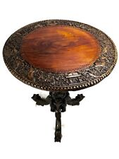 19th Century Burmese / Anglo-Indian Table Hardwood Wooden Dragon Design Antique