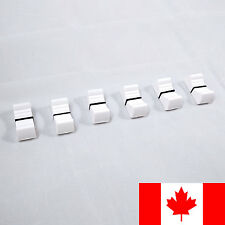 Set of 6x White Mixer Fader Cap Knobs - 8mm Slot - 3/8 in Wide