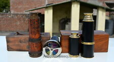DOLLOND LONDON+BRASS MONOCULAR TELESCOPE WITH BOXES+DOUBLE WHEEL KALEIDOSCOPE