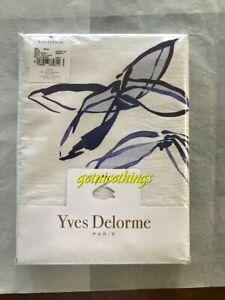 """Yves Delorme Air F/Q Duvet Cover 92x92"""" Blanc White Blue 100% Cotton Sateen $495"""