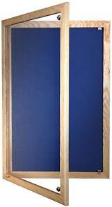 Wooden Tamperproof Lockable Beech Notice Board 900mm x 600mm Blue