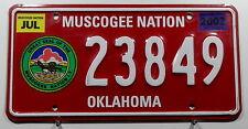"""USA Nummernschild Indianer """"MUSCOGEE NATION"""" Oklahoma. 9587."""