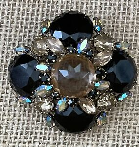 SIGNED SCHREINER Inverted Stone Pin Brooch Pendant Tiered Pink Champagne Blk Blu