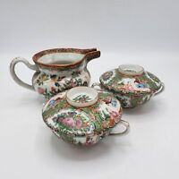 Lot of Antique Chinese Famille Rose Medallion Creamer Pitcher & Teacups w/ Lids