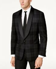 New! Lauren Ralph Lauren 36S Gray Wool Plaid Dinner Formal Tuxedo Blazer Jacket