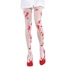 Ladies Womens White Bloody Tights Zombie Halloween Fancy Dress Party Blood Stain