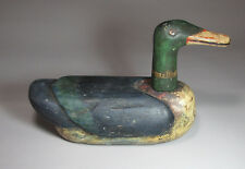 A Very Fine/Rare Korean Mineral Pigments Wood Carved Wedding Duck-19th C.