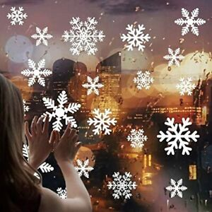 100 Pcs Merry Christmas Breezy Valley Snowflakes Window Clings