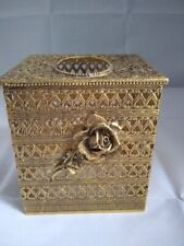 Vintage Gold Ormolu Rose Tissue Box Cover Holder Matson ?