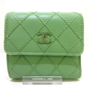 Auth CHANEL AP1128 Light Green Leather Trifold Wallet