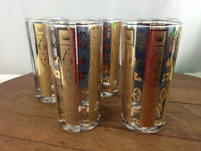 Set of 5 Georges Briard Glasses Tall Tumbler Gold Crown #Ub-2